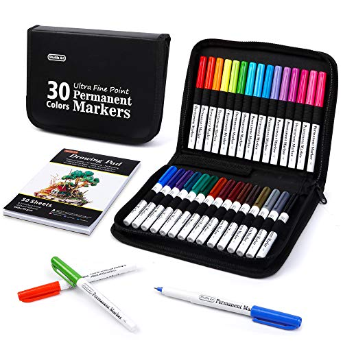 Permanent Markers, 30 Assorted Colors Ultra Fine Point Permanent Marker Packed in Travel Case, Ideal Colored Markers Set for Adults Coloring Doodling on Plastic, Glass, Gift for Teens by Shuttle Art