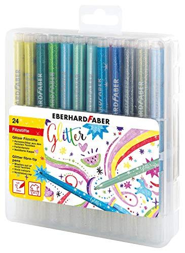 Eberhard Faber 551024 Glitzer Fasermaler in Einer aufklappbaren Geschenkbox, 24 Stück, Leuchtend, Brillante Farben, ca. 3 mm Strichstärke, zum Zeichnen, Kolorieren, Basteln und Schreiben