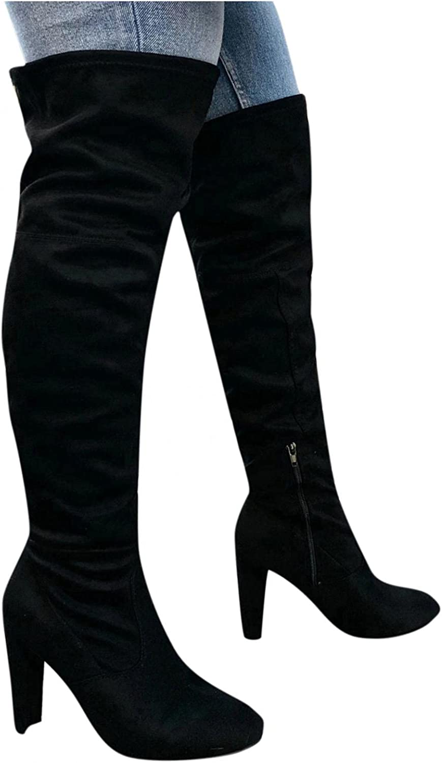 Eduavar Boots for Women, Womens Winter Fashion Lace Up Over Knee Long Thigh High Boots Suede Comfort Chunky Heels Shoes