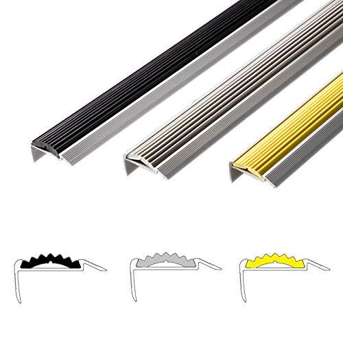 Alu Treppenkantenprofil Power Grip | rutschhemmende Gummi-Einlage | unsichtbare Montage: selbstklebend/vorgebohrt | Treppenwinkel Profil in 3 Farben & Längen (selbstklebend, schwarz, 134 cm)