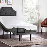 LUCID L300 Ergonomic Upholstered 5 Minute Assembly Dual USB Charging Stations Head and Foot Incline with Wireless Remote Control Adjustable Bed Base, Twin XL