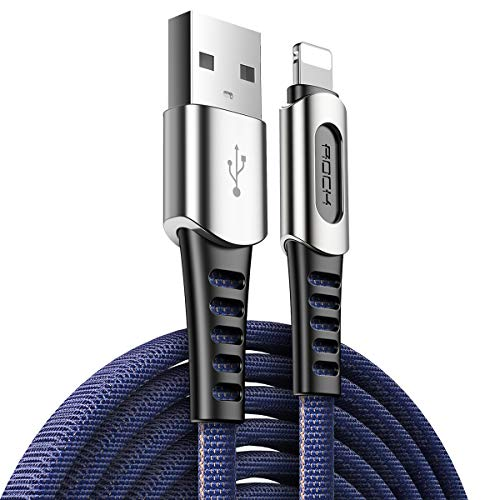 GKXAZ Zinc Alloy USB Data Cable For iPhone X XR XS Max XS 8 7 iPad Nylon Braided Data Sync Phone USB Charging Cable for lighting Cord (Color : Blue, Size : 100cm)