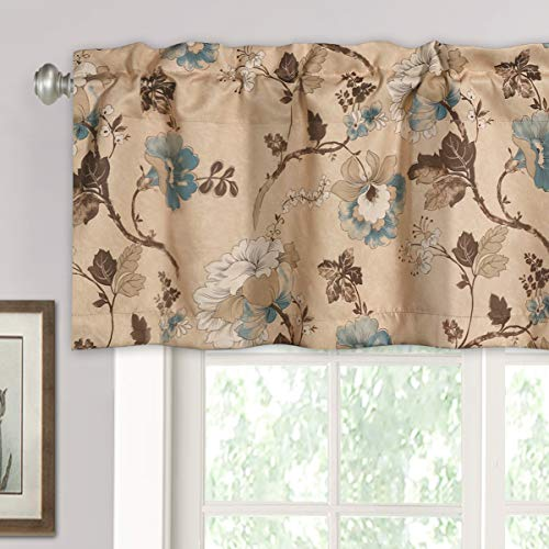 """H.VERSAILTEX Blackout Curtain Valances for Kitchen Windows / Living Room / Bathroom Privacy Protection Rod Pocket Decoration Winow Valance Curtains, 52"""" W x 18"""" L, Vintage Floral in Brown and Blue"""
