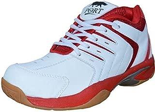 Port Women's Red Nayra Pu Badminton Shoes