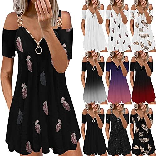 MEIYOUMK Sommer Kurzarm Kleid Damen Knielanges Kleid A-Linie Elegantes Kleid Schulterfreies Kleid Open Back Sexy Reißverschluss Kleid Lässiges V-Ausschnitt Minikleid