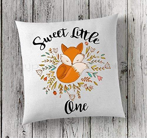 Stan256Nancy almohada de zorro, almohada de guardería, almohada para bebé, almohada personalizada, almohada de zorro, decoración de zorro, decoración de zorro, almohada de zorro, 16 x 16 pulgadas, funda de almohada de regalo.