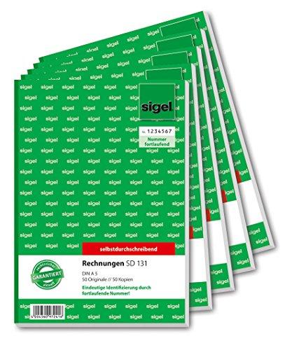 SIGEL SD131/5 Rechnungen fortlaufend nummeriert, A5, 2x50 Blatt, selbstdurchschreibend, 5er Pack