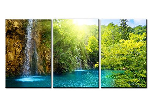Kunstdruck auf Leinwand, 3-teilig, Wasserfall in Dämmerung, blauer See mit Bäumen, goldene Sonnenstrahlen im Wald, ideale Dekoration für das Wohnzimmer, Landschaft-Fotodruck auf Leinwand
