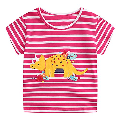 EULLA Toddler Girls Tee Shirt Short Sleeve Clothes 100% Cotton Dinosaur Pink Stripe Tops Best Gift Age 2-3 Years
