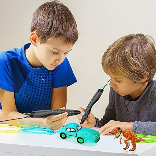 3D Stift, Tecboss 3D Pen mit LCD Anzeige, 3d Drucker Stifte für Kinder, Erwachsene, 8 Einstellbare Geschwindigkeit 3D Stifte Kit mit PLA und ABS Modus, Passt für DIY, Kritzelei, Zeichnung und Kunst & Handgefertigte Werke, Schwarz - 6