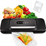 Vacuum Sealer Machine for Food- Automatic Food Sealer for Food Savers w/Starter Kit with 25 Pcs Vacuum Bags , Compact Design with Dry & Moist Food Modes and Led Indicator Lights , Free Your Hands and Easy to Clean(Black)