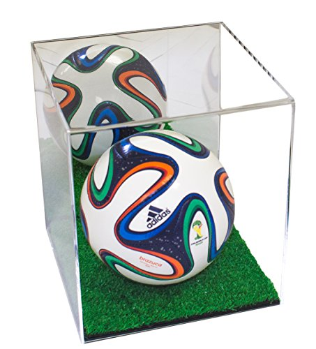 Better Display Cases Acrylic Mini - Miniature (not Full Size) Soccer Ball Display Case with Turf Base and Mirror (A015-TB)