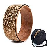 Rueda de yoga de corcho, pilates dharma natural y cómodo para mejorar la flexibilidad, set bolsa de montaje (B)