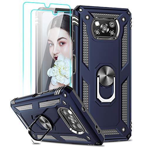 LeYi Funda para Xiaomi Poco X3 Pro/Xiaomi Poco X3 NFC con [2-Unidades] Cristal Vidrio Templado,Armor Carcasa con 360 Grados Anillo Soporte Hard PC y Silicona TPU Bumper Case para Movil Poco X3
