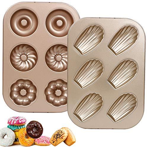 RAIN QUEEN Madeleine Backformen Donut Formen Backblech Aus Karbonstahl Bagel Muffin Donut Wannen Kuchen (Madeleine & Donut, Set 2)