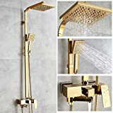 Robinets de baignoire De luxe en laiton doré robinet de salle de bains mitigeur...