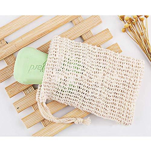 ARTIFUN Soap Saver Bag Net Pouch 2 PCS Cotton Linen Drawstring Pouch Exfoliating Soaps Storage Bags