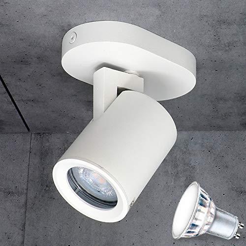 Aufbauleuchte Deckenleuchte Aufputz MIAMI Weiss 1-Flammig (5W) IP20 GU10 inkl. LED 1x 5W Warmweiss, Deckenleuchte Strahler Deckenlampe Kronleuchter aus Stahl, horizontal und vertikal einstellbar