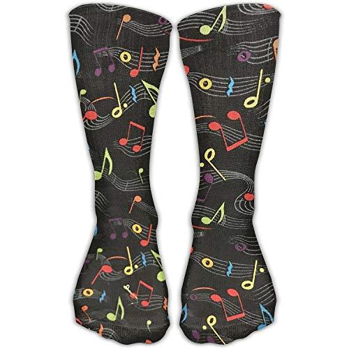 Las mujeres hombres clásicos calcetines notas musicales tela medias atléticas 30cm largo calcetín único tamaño