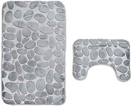 ESUPPORT Memory Foam Bathroom Mat Set 2 Piece Non Slip Bath Rug Soft Toilet Lid Cover U Shaped Contour Rug Carpet, Stone T...