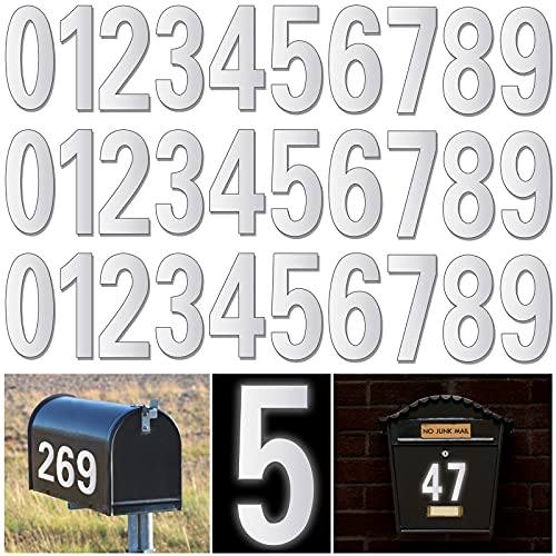 Reflective Mailbox Numbers for Outside - 30 Pcs Waterproof Mailbox Numbers Stickers, Large 3 Inch Self Adhesive 0-9 Vinyl Number for Mailbox, Door, Garbage Bins, Address, Number (White)