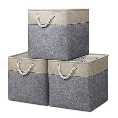 Syeeiex Storage Cube Basket [3-Pack] Boîte de Rangement Pliable en Tissu en Toile avec poignées pour Organiser, étagères, Jouets, vêtements, Bureau (33 x 33 x 33 cm) (Beige/Gris)