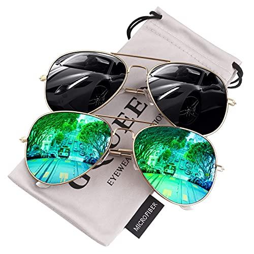 GQUEEN Gafas de sol Hombre Mujer Polarizadas Ligeras de Aleación de Metal UV400