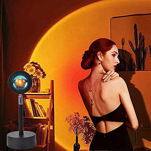 ZGHN Lámpara De Proyección del Atardecer, Lámpara De Proyector De Rotación De 180 Grados Lámpara De Puesta De Sol Romántica con Carga USB para Familiar Luz para Parejas D Sunset Red