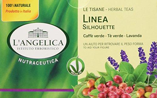 L'Angelica, Tisana Linea Silhouette, Tisana Funzionale con Tè Verde e Caffè Verde per Aiutarti a Ritrovare il Peso Forma, Azione Drenante, Vegan, 10 Confezioni da 20 Filtri Ciascuna