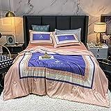 Trapunta Leggera Matrimoniale Quilt Fresco in Seta a Quattro Pezzi, Una Trapunta + Un Foglio + Due Pillowcases   Lavabile-K_200 cm Letto Estate Trapunta-4 Pezzi Set