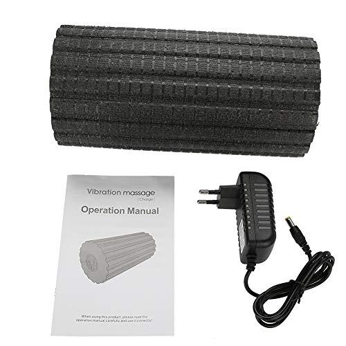 GOTOTOP vibrierende Schaumstoffrollen, Muscle Relax Schmerzlinderung Massagegerät Yoga Gym Triggerpoint Vibrationsschaum Roller schwarz, 30 * 15cm (L * D)