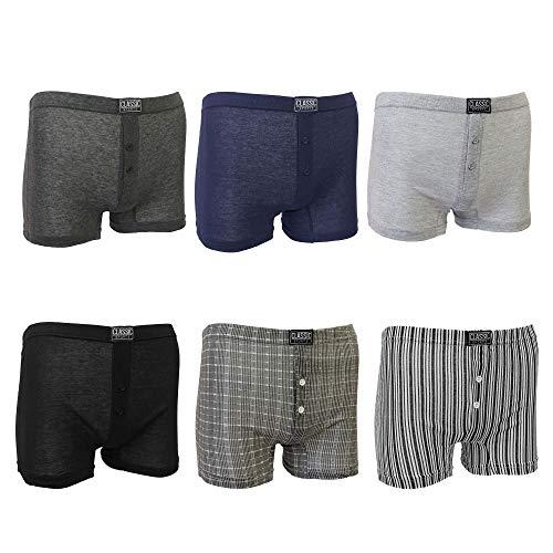 Socksmad 6 x Herren Boxershorts mit Knopfleiste aus Baumwolle, verschiedene Größen Gr. XXXXXX-Large, Druck/Uni sortiert