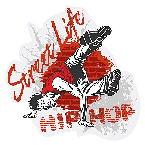 Wandtattoo Jugendzimmer Musik Wandsticker Cooler Breakdancer mit Hip Hop Schrif