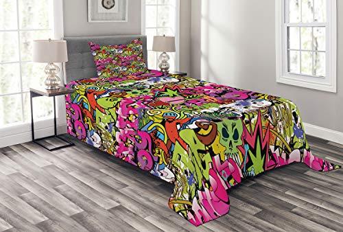 ABAKUHAUS urban Graffiti Tagesdecke Set, durchbohrte Herz, Set mit Kissenbezügen Waschbar, für Einselbetten 170 x 220 cm, Magenta Grün