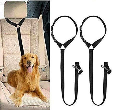Anlising Cinturón de seguridad universal para perros, 2 unidades, ajustable, con amortiguación elástica para todas las razas de perros