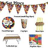 Platos Vajilla Fiesta 39Pcs / Set Blocks Theme Vajilla Desechable Baby Shower Party Supplies Platos En Bloque Tazas Servilletas Banners Decoraciones Suministros, Un Conjunto 39Pcs