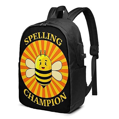 Hdadwy Rechtschreibung Bee Champian 17-Zoll-Rucksack mit USB-Laptop für Travel School Business verwendet