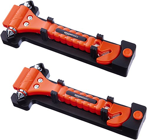 AmazonBasics Emergency Seat Belt Cutter and Window Hammer Tool, Car Accessories, 2 Pack