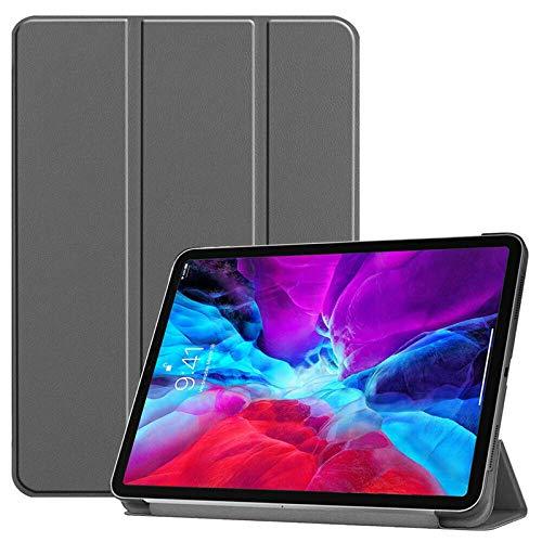 QINYUP para iPad Pro 12.9 4.a Funda de Cuero Inteligente de 11 Pulgadas (2020) con portalápices-Gris12.92018