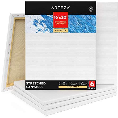 Arteza Premium Leinwand Keilrahmen, 40.6 x 50.8 cm, 6 bespannte Keilrahmen, 100{71275f6b4646015fd497c14b62c647f921831c2045aebc9367a0a1277953c8d3} Baumwolle grundiert mit säurefreiem Titan-Acryl-Gesso, Leinwände für Acrylmalerei, Ölfarben & nasse Kunstmedien