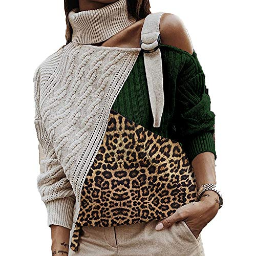 CAIYCAI Leopard Patchwork Knitted Sweater Women Off Shoulder Turtleneck Warm Autumn Sweaters Pullover 03 Leopard Green XL