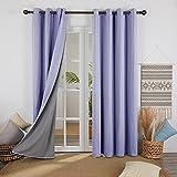 Deconovo Cortina Opaca Efecto Lino con Forro Termica Aislante con Ojales 2 Paneles 132 x 183 cm Púrpura Claro