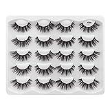 Leipple 3D Mink Lashes - 10 Pairs Professional Handmade Fake Eyelashes - Natural Reusable Thick Fluffy False Eyelashes Faux Mink Eyelashes (Y003)