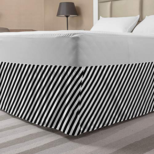 Lunarable Striped Bed Skirt, Diagonal Stripes Monochrome Pattern Abstract Geometric Elements Retro Inspirations, Elastic Bedskirt Dust Ruffle Wrap Around for Bedding Decor, Queen, White Black