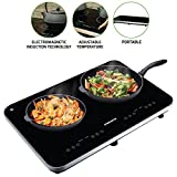 Ovente Electric Double Ceramic Glass Induction Countertop Burner with...