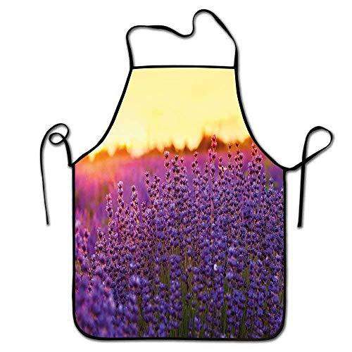 N\A Lavendel Schürze Neuheit Lavendelfeld im Sommer in der Nähe von Tihany Ungarn Landwirtschaft Ernte Duft Aroma Schürze Moderner violetter Senf