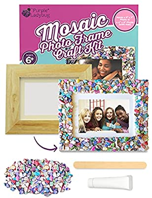 PURPLE LADYBUG Decorate Your Own Wooden Photo Frame Craft Kit for Kids with Colorful Mother of Pearl Shells - Great Birthday Gift for Girls, Fun DIY Summer Arts and Crafts Activity for Kids & Teens by PURPLE LADYBUG