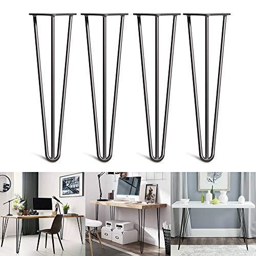 YOLEO 4x Hairpin Legs Tischbeine Möbelfüße Schreibtisch &Esstischbeine für Couchtisch und Nachttisch - Verfügbar in Höhe von 35cm-71cm - Schwarz Durchmesser 10 mm-Mit 2 Stange/3 Stange(71cm-3Stange)
