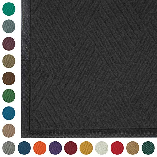 WaterHog Diamond | Commercial-Grade Entrance Mat with Rubber Border – Indoor/Outdoor, Quick Drying, Stain Resistant Door Mat (Charcoal, 4' x 6')