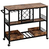 IRONCK Wine Rack Table, Industrial Bar Cart on Wheels Kitchen Storage Cart for The Home Wood and Metal Frame, Vintage Brown